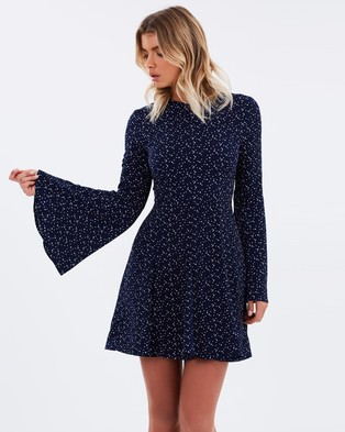 Atmos & Here – Cavali Flared Sleeve Mini Dress Navy Spot