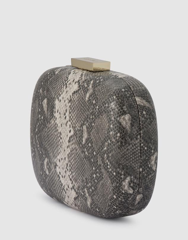 Women Payton Snake Print Rounded Clutch