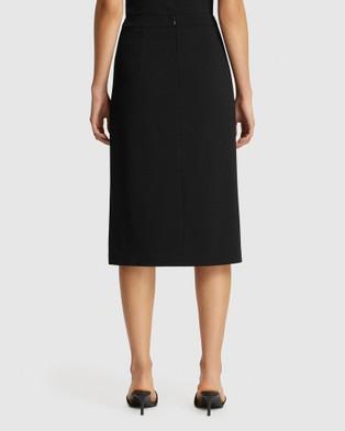 FRIEND of AUDREY Poppy Resin Buttoned Split Skirt - Pencil skirts (Black)