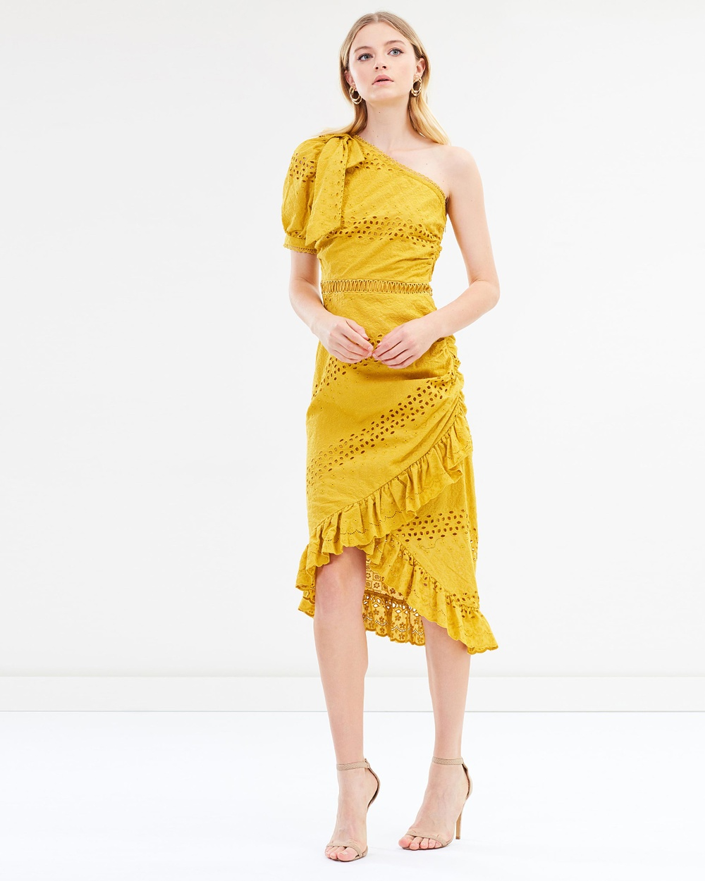Ministry of Style Botanica One Shoulder Dress Dresses Sunny Mustard Botanica One Shoulder Dress