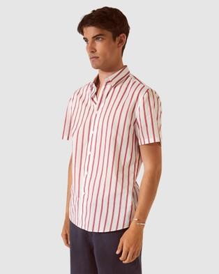 SABA SB Toby Stripe Short Sleeve Voile Shirt - Shirts & Polos (pink)
