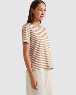 Sportscraft - Linden Stripe Tee - T-Shirts & Singlets (Camel Multi) Linden Stripe Tee