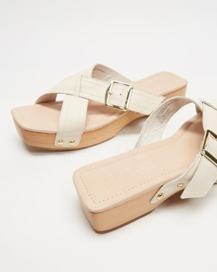 AERE - Crossover Buckle Detail Clog Slides Flats (Cream Leather)