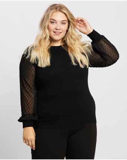 Atmos&Here Curvy - Kristina Contrast Knit Top