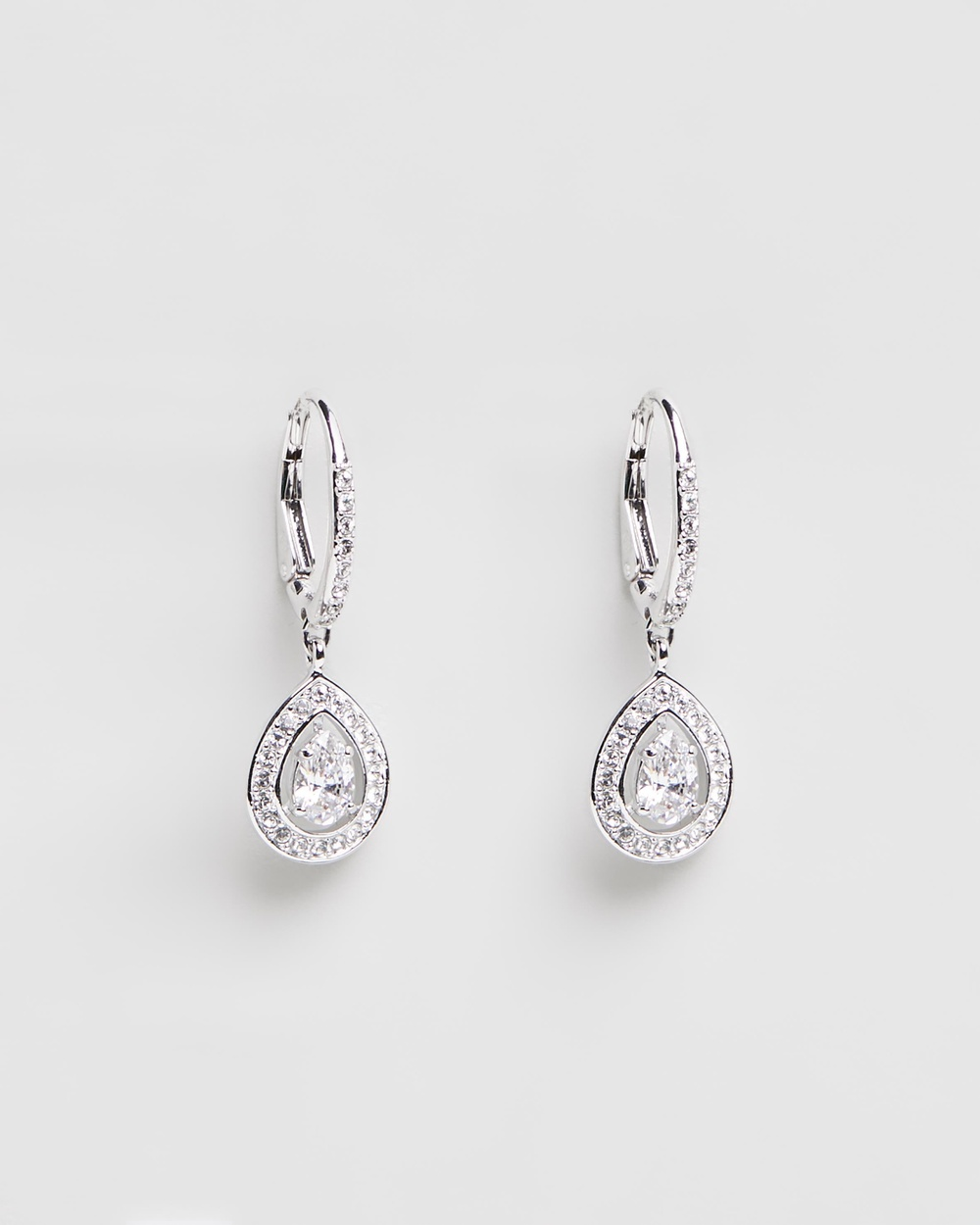 Swarovski Attract Pear White Gold Pendant Earrings with Crystals Jewellery Silver