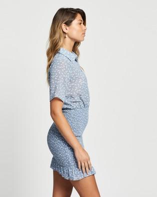 Atmos&Here - Isla Mini Dress - Printed Dresses (Blue Feather Print) Isla Mini Dress