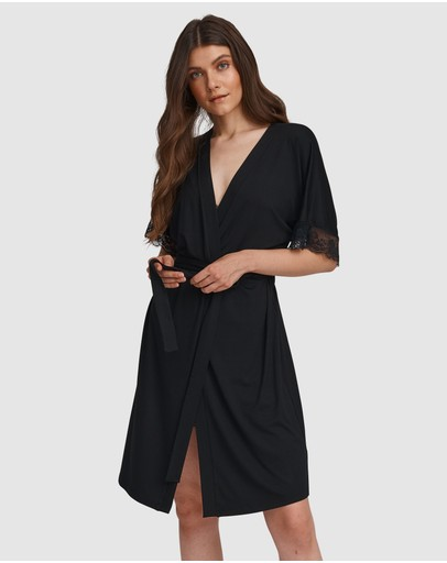 Oh!zuza Lace Trim Robe Black