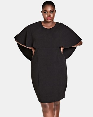 City Chic – Cape Sleeve Dress Black
