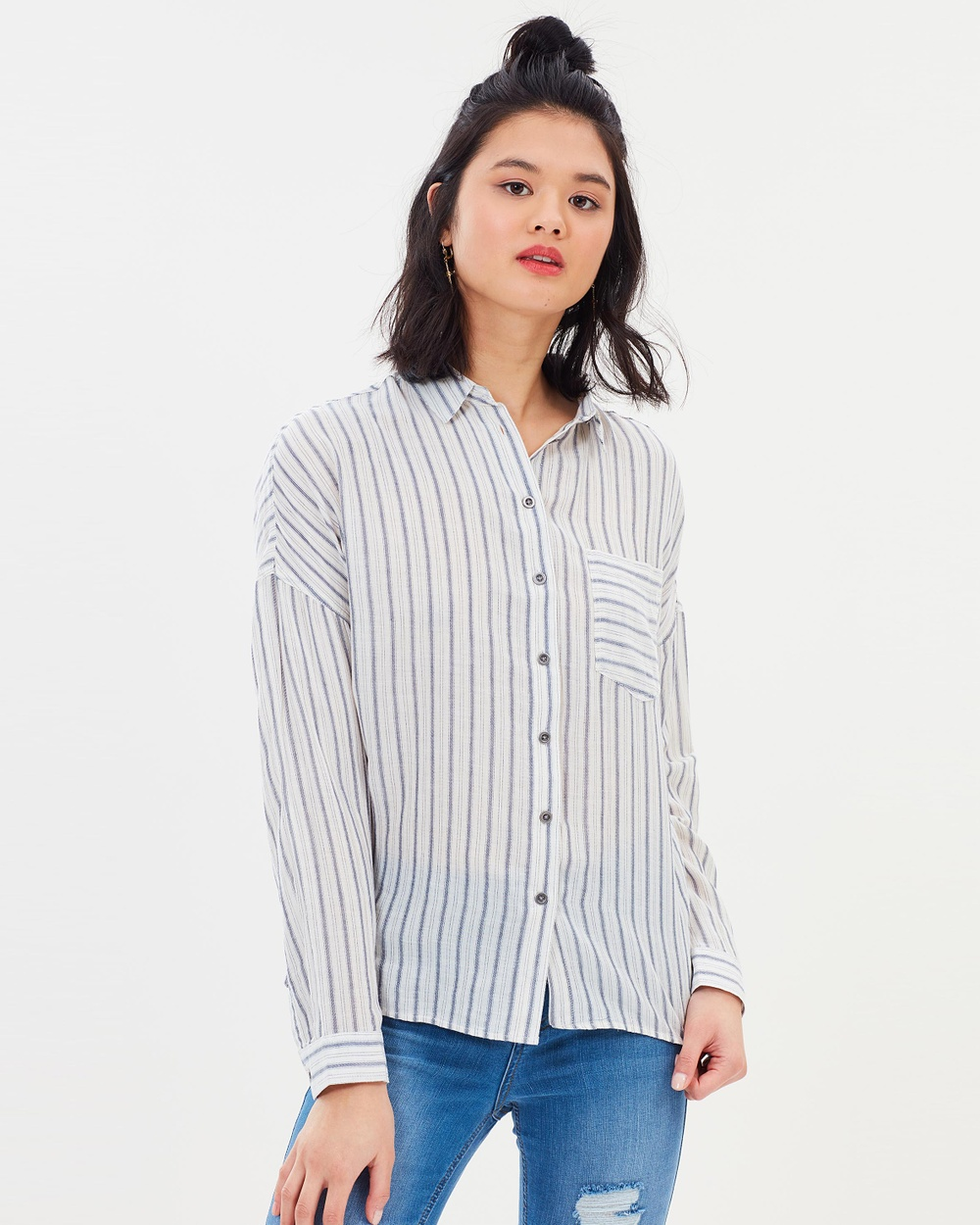 All About Eve Layla Stripe Shirt Tops Vintage White & Dark Blue Stripe Layla Stripe Shirt