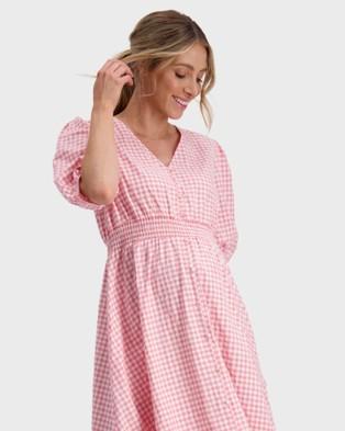 Maive & Bo Sunday Maternity & Nursing Dress - Dresses (Pink gingham)