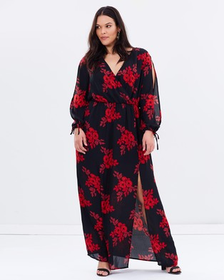 Atmos & Here Curvy – Dandy Long Sleeve Maxi Dress Red Stencil Floral