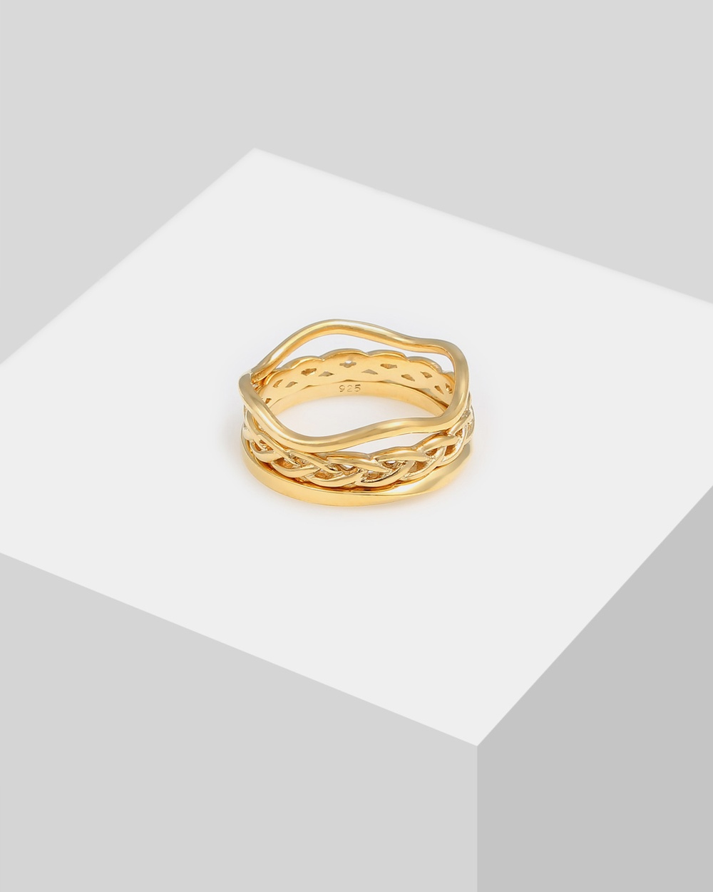 Elli Jewelry Ring Shafts Braided Twisted in 925 Sterling Silver Gold Plated Jewellery Gold