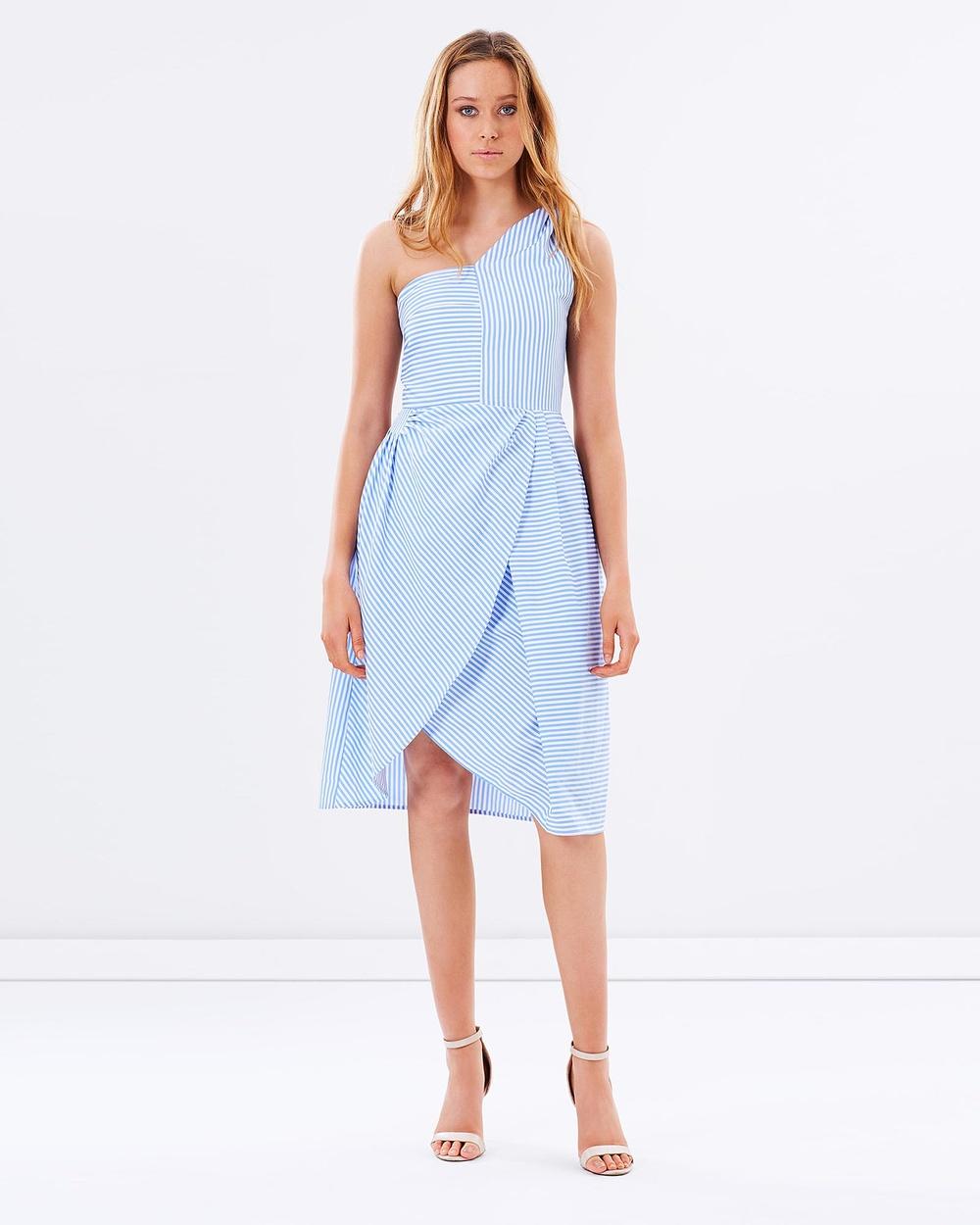 Friend of Audrey Stripe Striped One Shoulder Dress