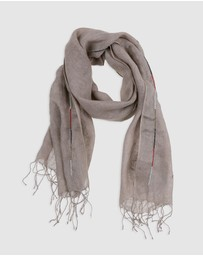 Arms Of Eve - Maasai Beaded Linen Scarf - Taupe