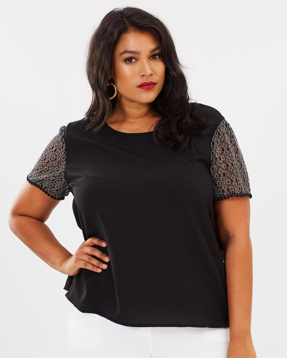 Atmos & Here Curvy ICONIC EXCLUSIVE Luciana Lace Sleeve Top Tops Black ICONIC EXCLUSIVE Luciana Lace Sleeve Top