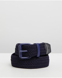 Scotch & Soda - Leather Trimmed Woven Elastic Belt