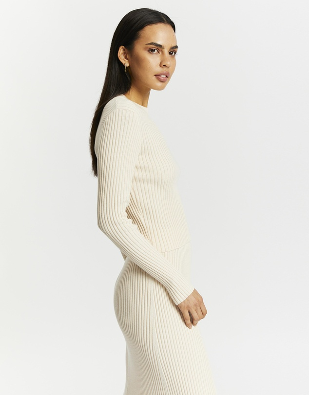 Women Ribbed Knit Long Sleeve Top