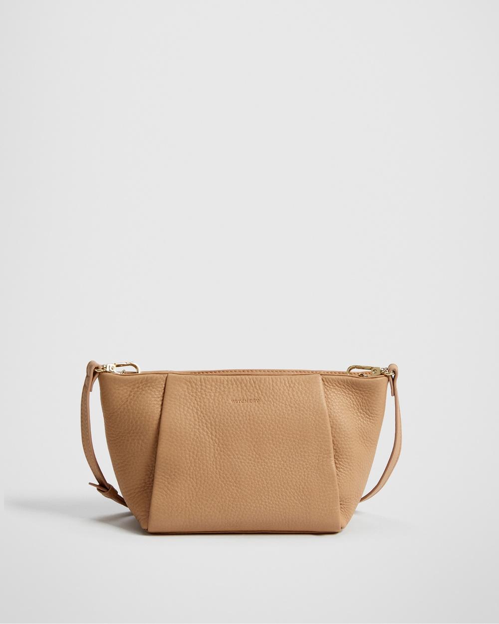 Witchery Celia Mini Pebble Crossbody Bag Bags brown Laptop Bags Australia