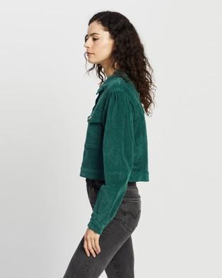 Missguided Cord Balloon Sleeve Crop Jacket - Coats & Jackets (Green)