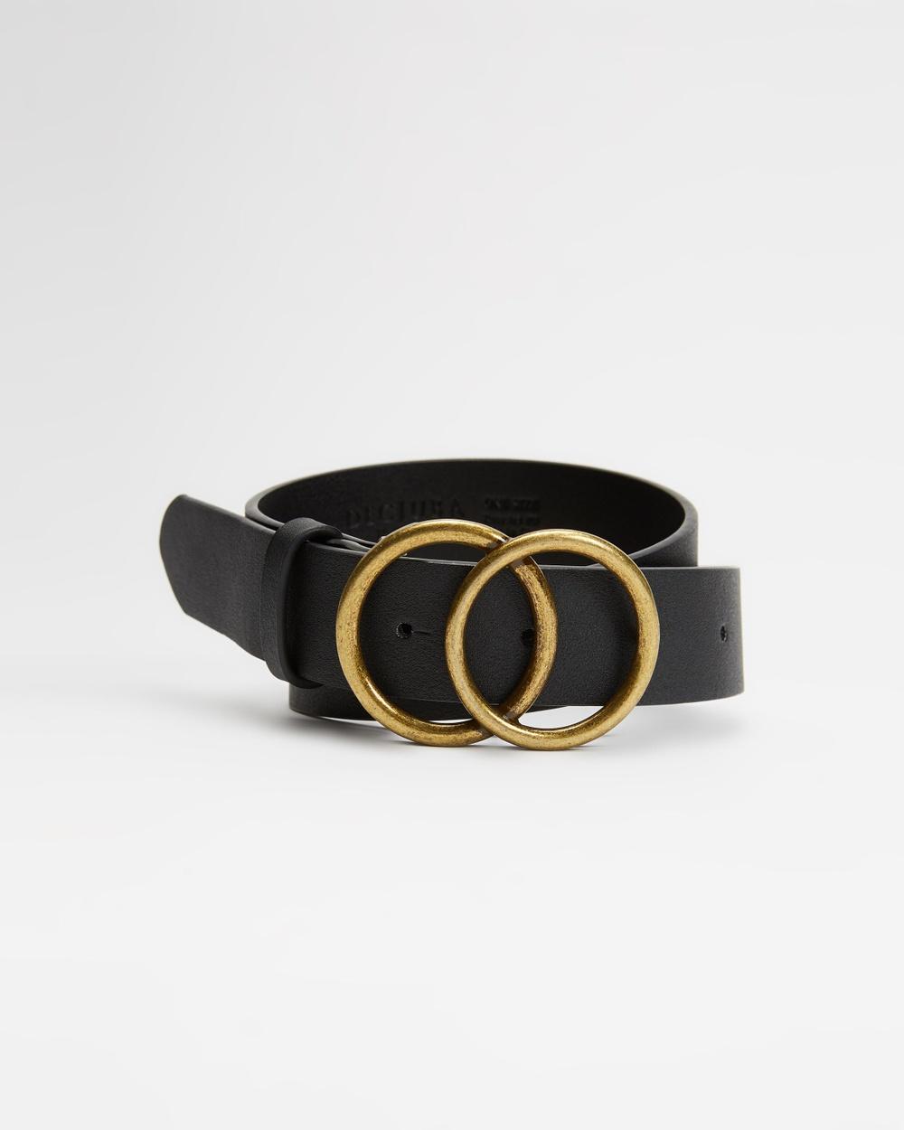 Decjuba Kids Double Circle Belt Teens Belts Black & Burnished Gold