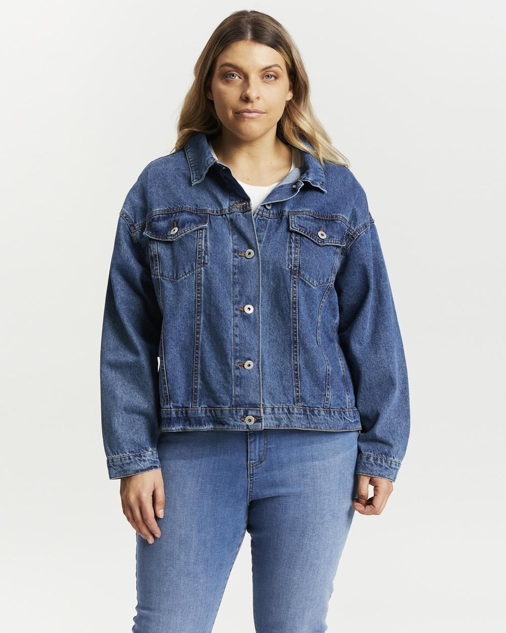 Cotton On Curve 90s Baggy Denim Jacket jacket Coogee Blue Australia