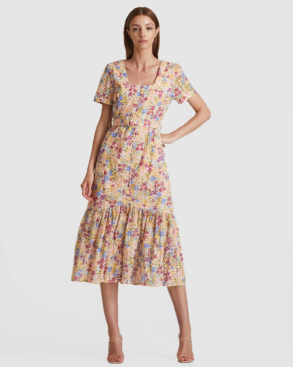 We Are Kindred Eliza Broiderie Midi Dress Dresses Multicoloured Australia