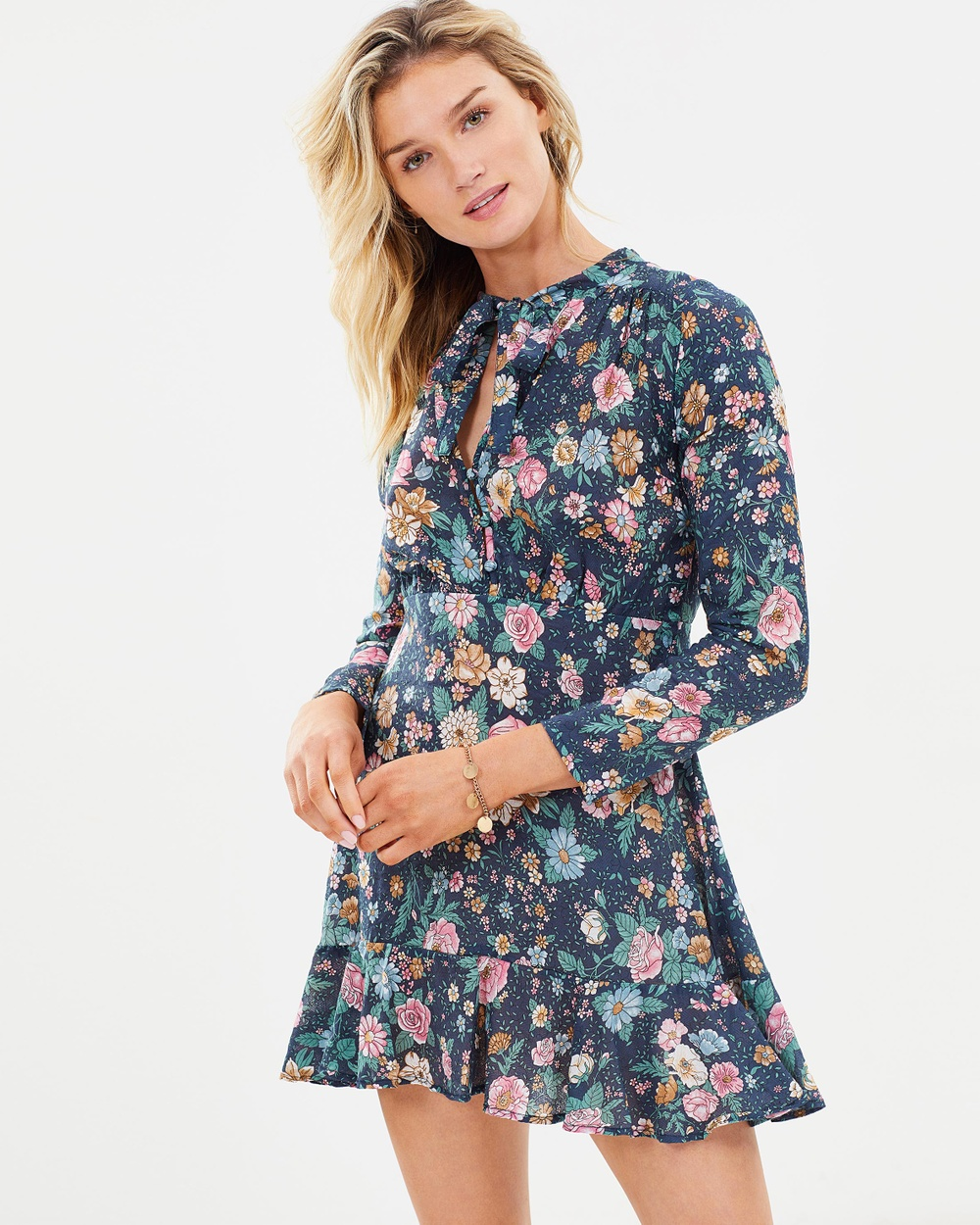 Auguste The Label Spring Rose Wylde Long Sleeve Mini Dress Printed Dresses Navy Spring Rose Wylde Long Sleeve Mini Dress
