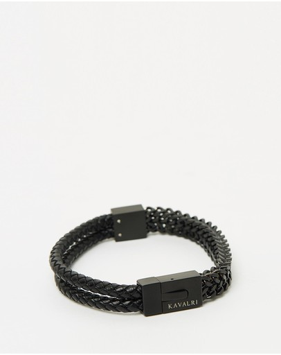 Kavalri Armour Double Leather & Steel Bracelet Matte Black