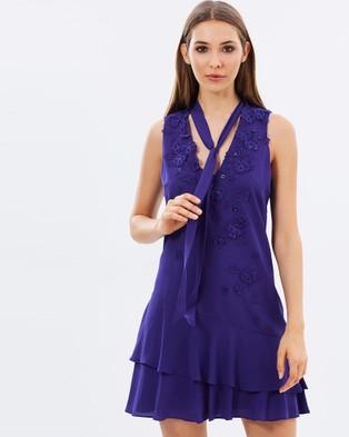 Karen Millen – Pussy Bow Dress – Dresses (Purple)