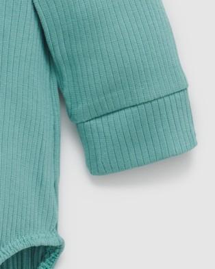 Purebaby Rib LS Henley Bodysuit   Babies - Bodysuits (Moss Green)