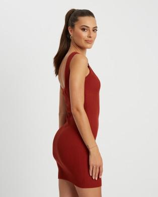 BWLDR Belle Knit Dress - Bodycon Dresses (Rust)
