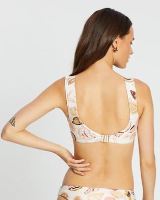 Cleonie Amore Shell Sports Crop Bikini Top - Bikini Tops (Shell Print)