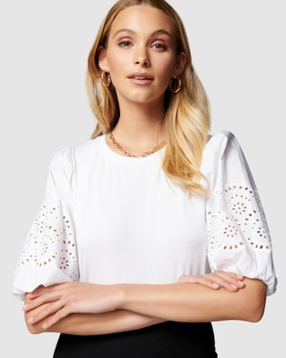 Forever New Belle Broderie Woven Sleeve Tee - T-Shirts & Singlets (White)