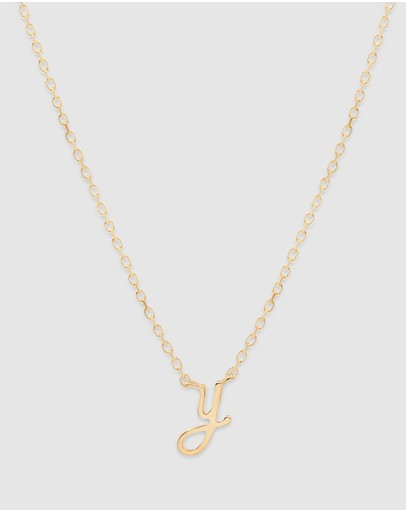 By Charlotte Love Letter 'y' Necklace Gold