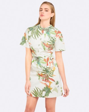 Oxford – Bradley Palm Print Dress – Printed Dresses Green