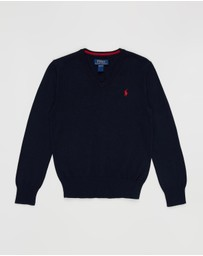 Polo Ralph Lauren - Pima V-Neck Long Sleeve Sweater - Teens