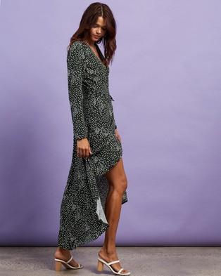Missguided - High Low Wrap Midi LS Polka Dot Dress - Printed Dresses (Green) High Low Wrap Midi LS Polka Dot Dress