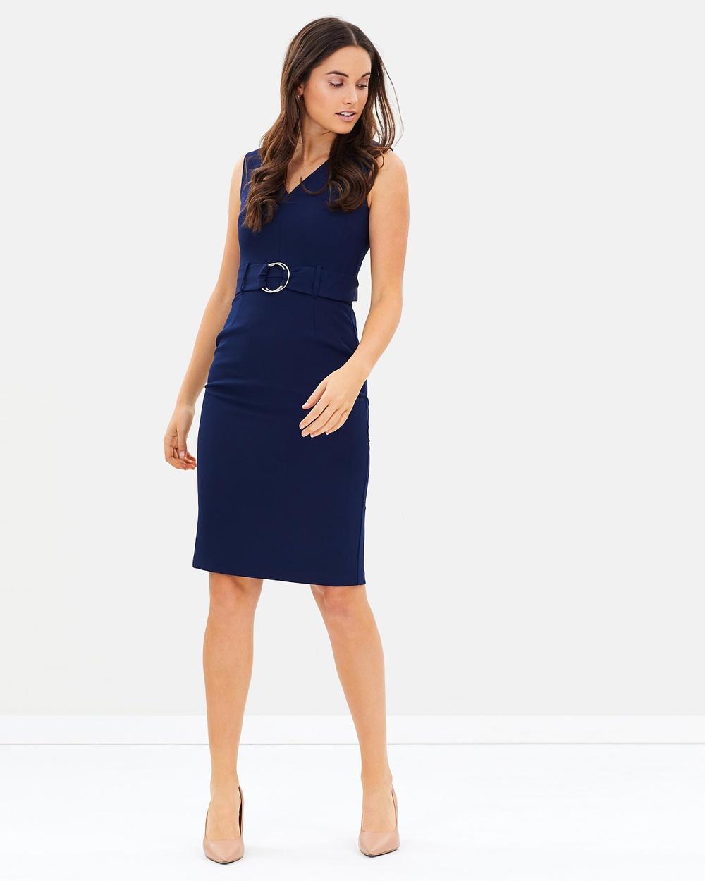 Dorothy Perkins O Ring Belted Dress Dresses Navy Blue O-Ring Belted Dress