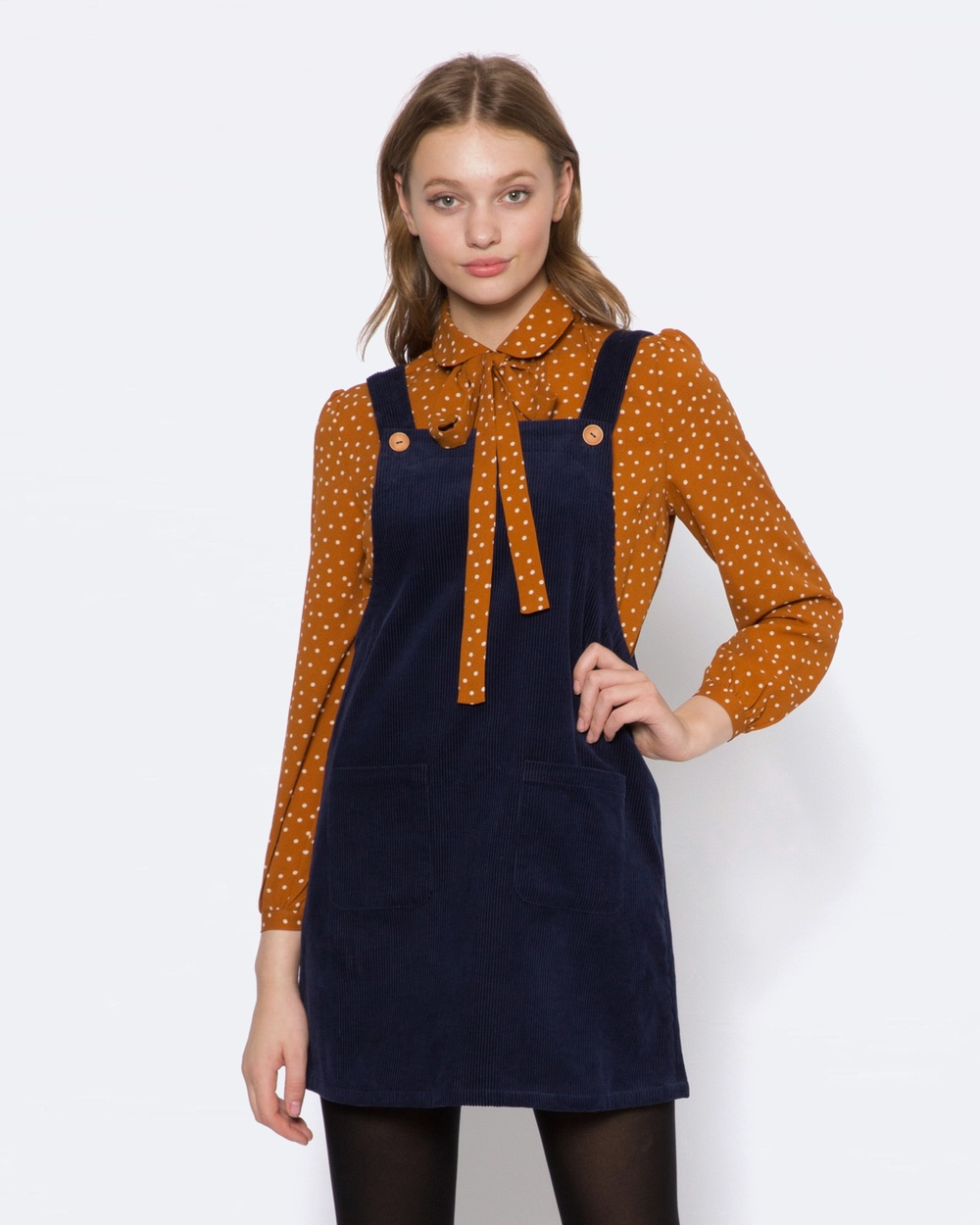 Princess Highway Bowie Cord Pinny Dresses blue Bowie Cord Pinny