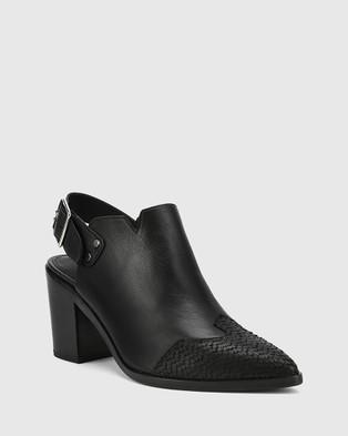 Wittner Pino Cobra Print Leather Closed Toe Block Heels - Heels (Black)