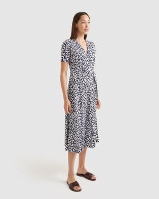 Sportscraft Dash Cotton Modal Wrap Dress - Printed Dresses (blue)