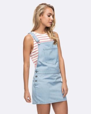 Roxy – Womens Back In The West Coast Denim Dress – Dresses (Light Blue)