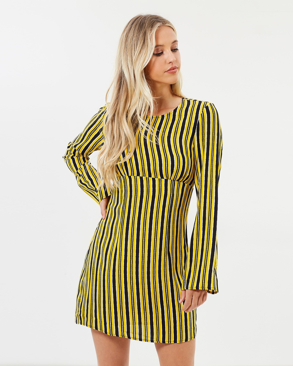 Dazie Walk The Line Dress Dresses Yellow Stripe Walk The Line Dress