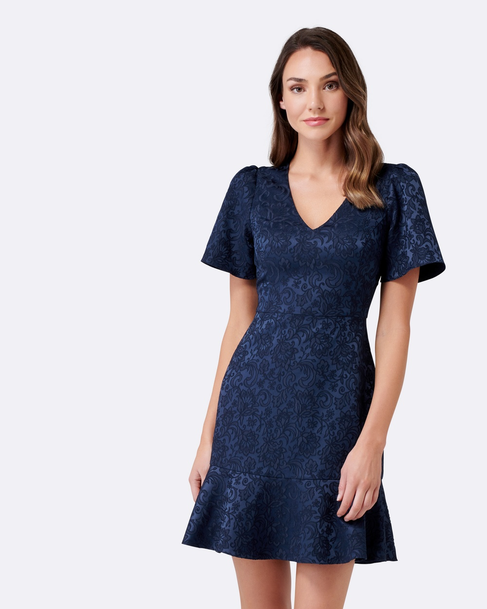 Forever New Skye Jacquard Fit And Flare Dress Dresses Admiral Blue Skye Jacquard Fit And Flare Dress