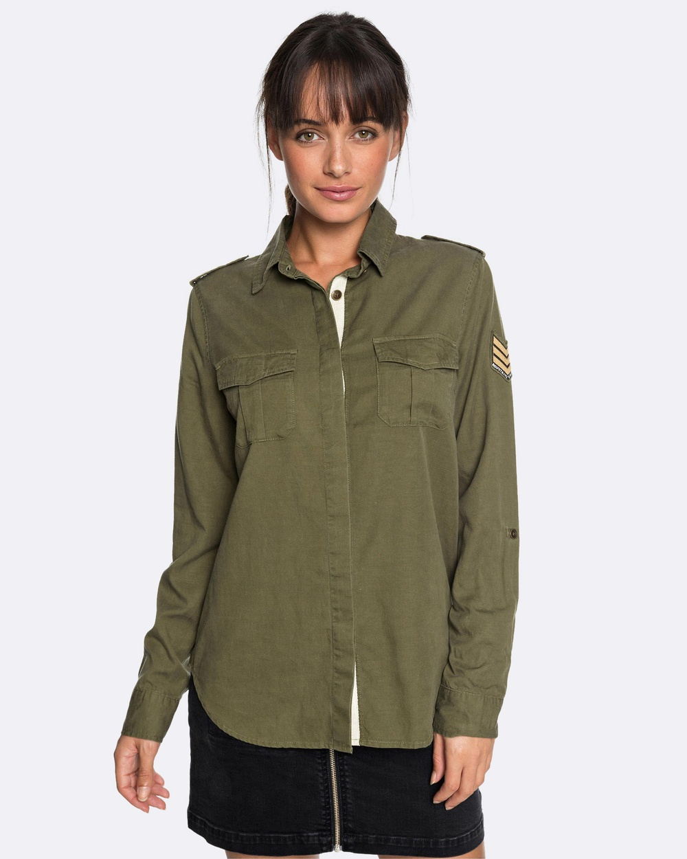Photo of Roxy Roxy Womens Military Influence Long Sleeved Shirt Tops Burnt Olive Womens Military Influence Long Sleeved Shirt - Made with a thick Tencel® cotton and flax linen, cut with a classic, comfortable regular fit, and rounded out with a closed by hidden metal buttons on front tab. This long sleeve shirt for women joins the line-up in the ROXY autumn-winter apparel collection.58% Tencel, 27% Cotton, 15% Flax LinenFabric: Thick TENCEL® cotton and flax linen [180 g/m2]Fit: