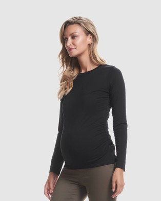 Soon Maternity Classic Cotton Long Sleeve Tee - Long Sleeve T-Shirts (Black)