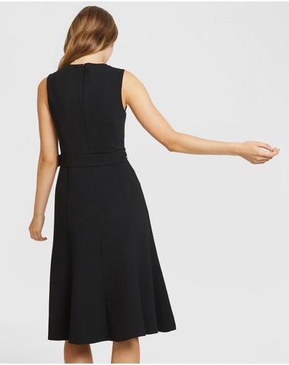 Aris Midi Skater Dress Black