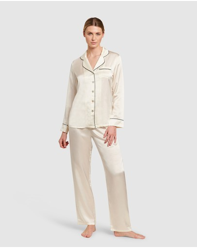 GINIA - Silk Pyjamas With Contrast Piping