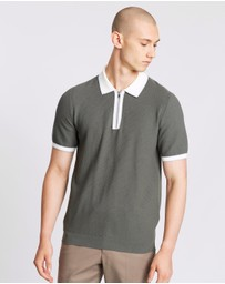 REISS - Tobago SS Textured Tipped Half Zip Polo