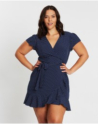 Atmos&Here Curvy - ICONIC EXCLUSIVE - Polka Dot Wrap Dress